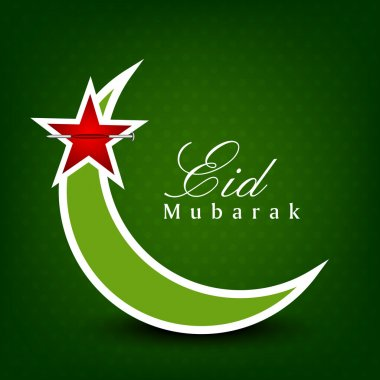 Eid Mubarak background with Moon and Stars on green. EPS 10. can