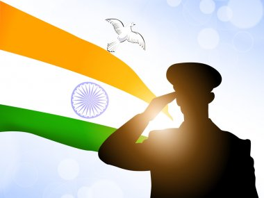 Saluting soldier silhouette on Indian Flag waving background. EP