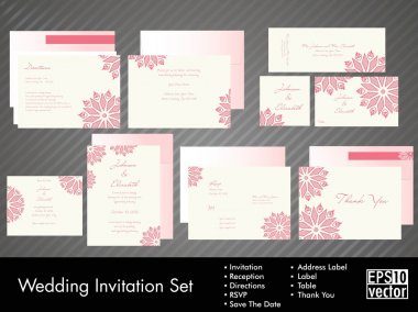 Complete set of wedding invitations or announcements with floral