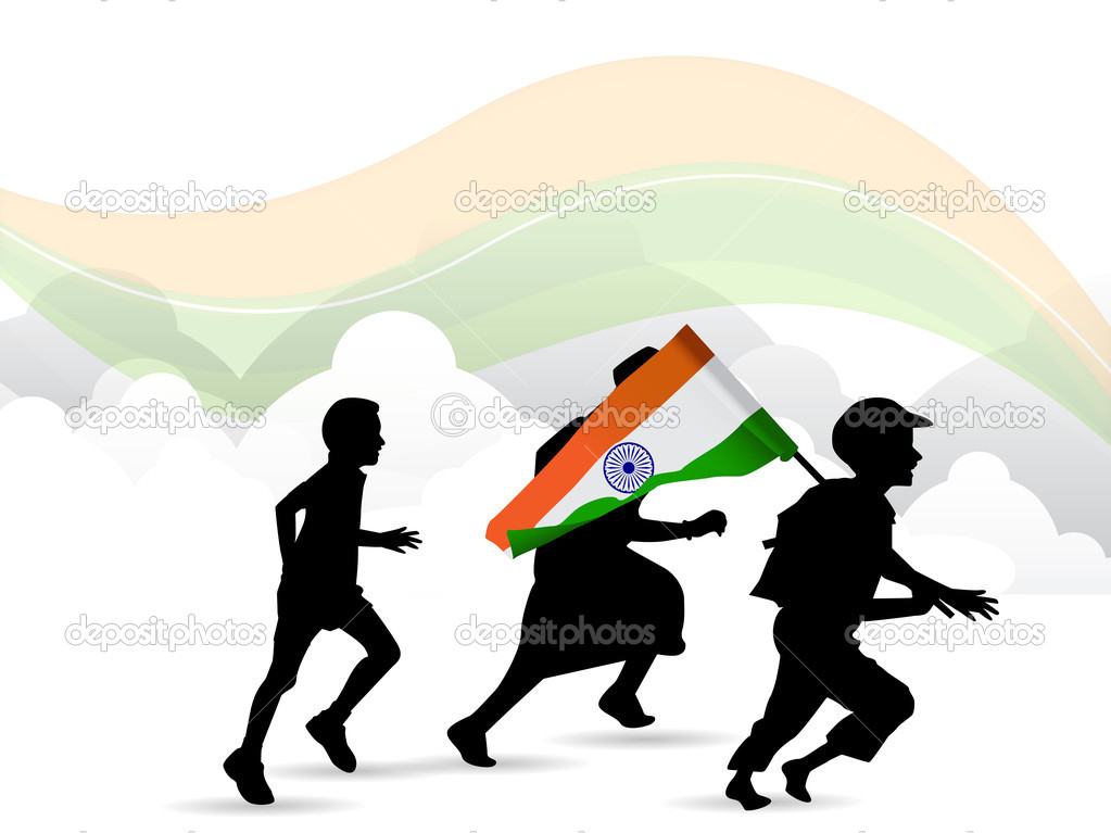 Children silhouette on Indian Flag waving background. EPS 10.