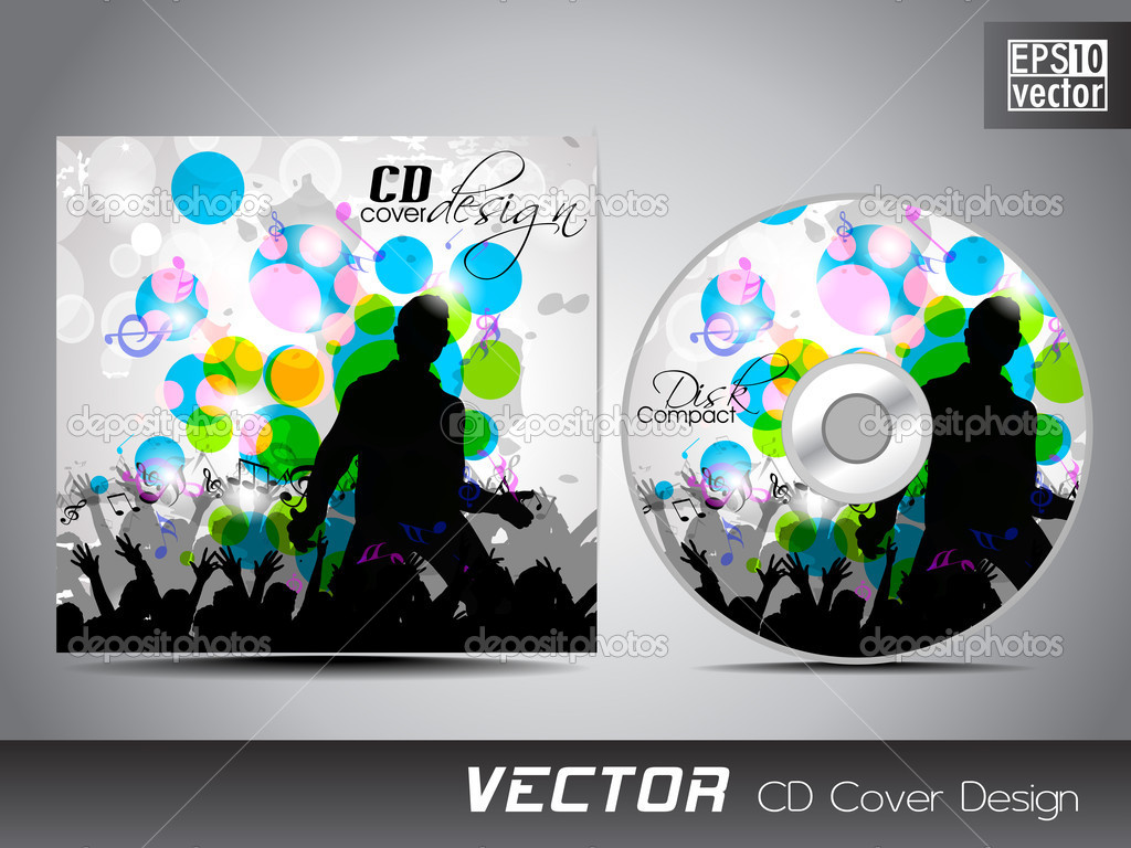 CD cover presentation design template with copy space and music ...