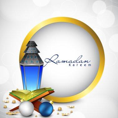 Intricate Arabic lamp with Quran or Koran for Ramadan Kareem bac