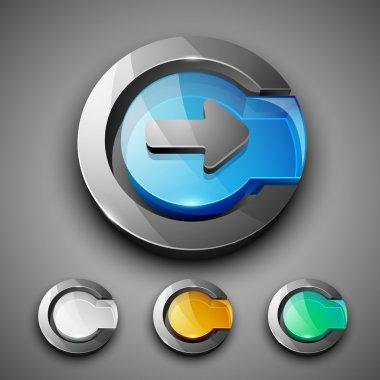 Glossy 3D web 2.0 right arrow symbol icon set. EPS 10