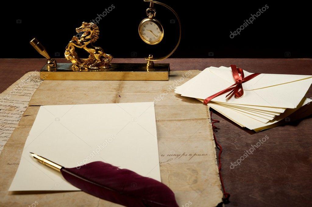 Письме - таблице - бумаги - искусства - перу - связи - сток-.