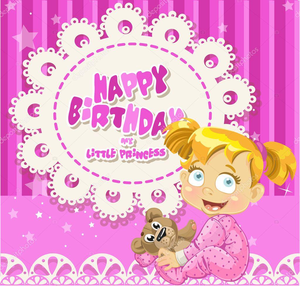 Happy Birthday Girl Illustration ~ Happy birthday my baby girl card for your greetings stock vector � yadviga