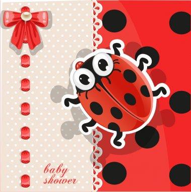 Baby shower card with cute cartoon ladybug