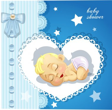 Blue delicate baby shower card with cute sleeping baby