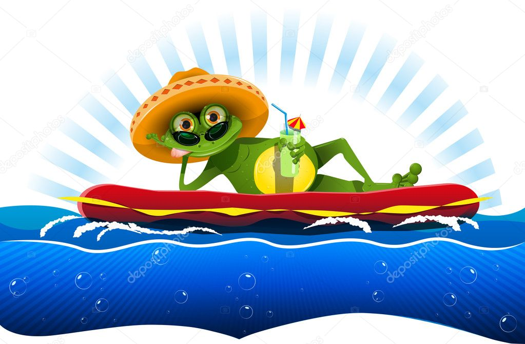 Frog on a water mattress