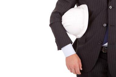 Engineer holding an helmet