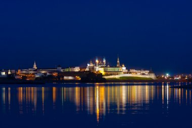 Night landscape with a kind on Kremlin
