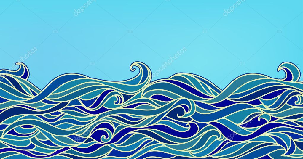 Abstract Waves Background, Vector Blue Colorful Hand-drawn Patte
