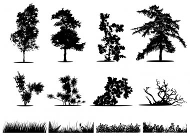Trees, bushes and grass silhouettes collection stock vector