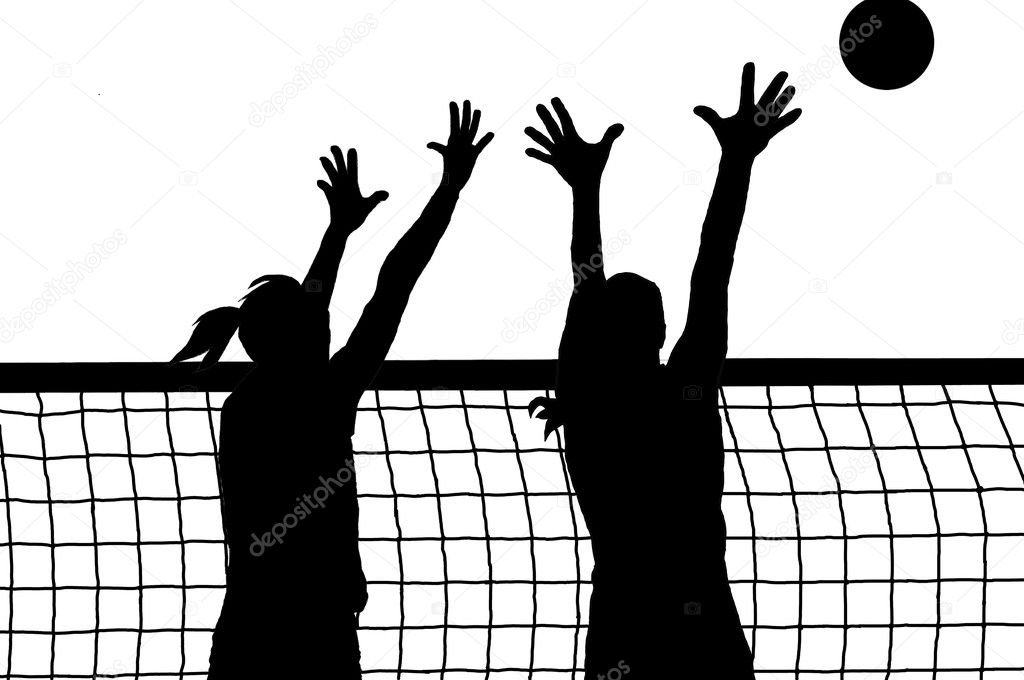 Illustration Abstract Volleyball Player Silhouette: Volleyball Two Women And Ball Silhouette Vector