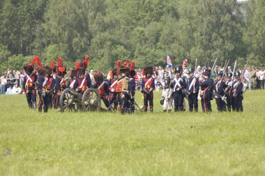 Borodino battle. Soldiers defends themselves