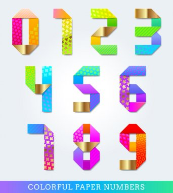 Colorful vector decorative paper numbers