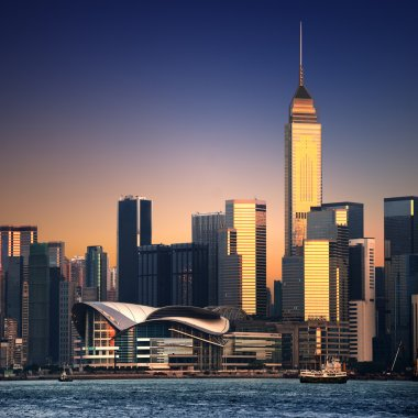 Beautiful HongKong cityscape at sunset