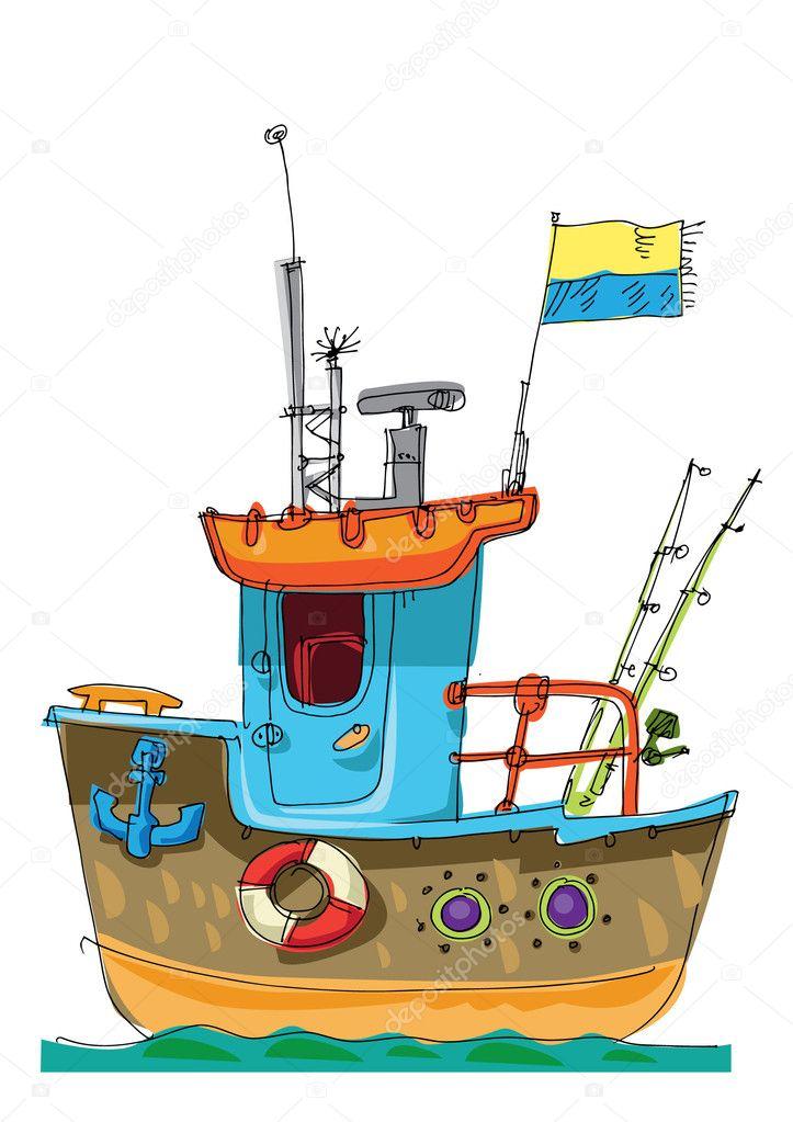 Barco De Carga Caricatura Caricatura De Pescado Barco Cartoon