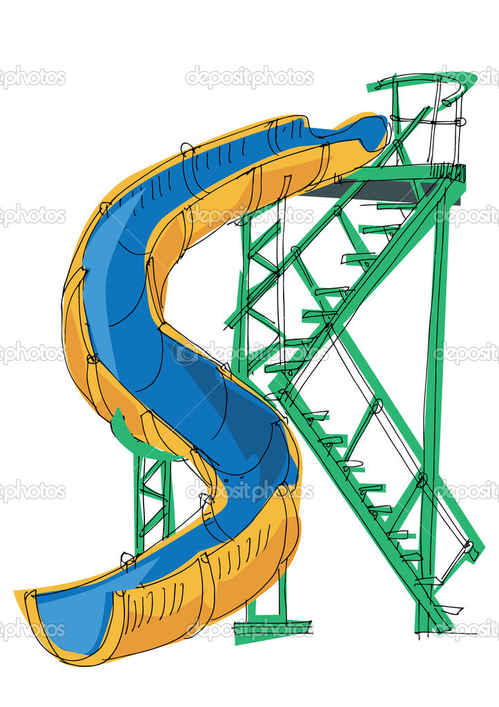 Water park - slide - cartoon — Stock Vector © iralu1 #11289666