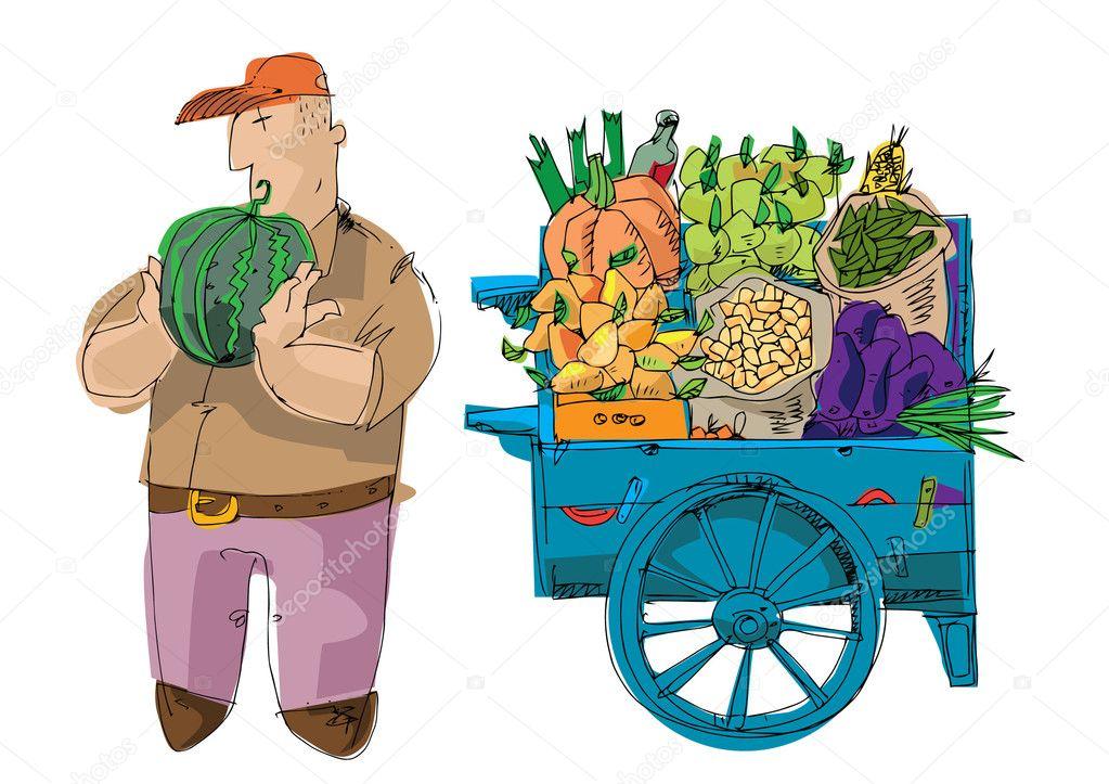 Vendedor cerca de carro lleno de frutas y verduras - Carro de frutas ...