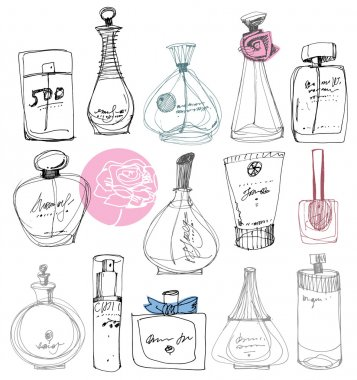 The bottles of perfume on a white background.