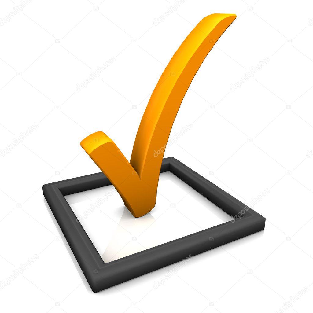 símbolo de la lista de verificación naranja — Foto de stock ...