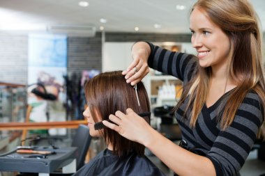 Hairdresser Giving a Haircut To Woman