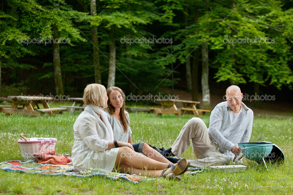 Friends Having Barbecue Picnic Outdoor
