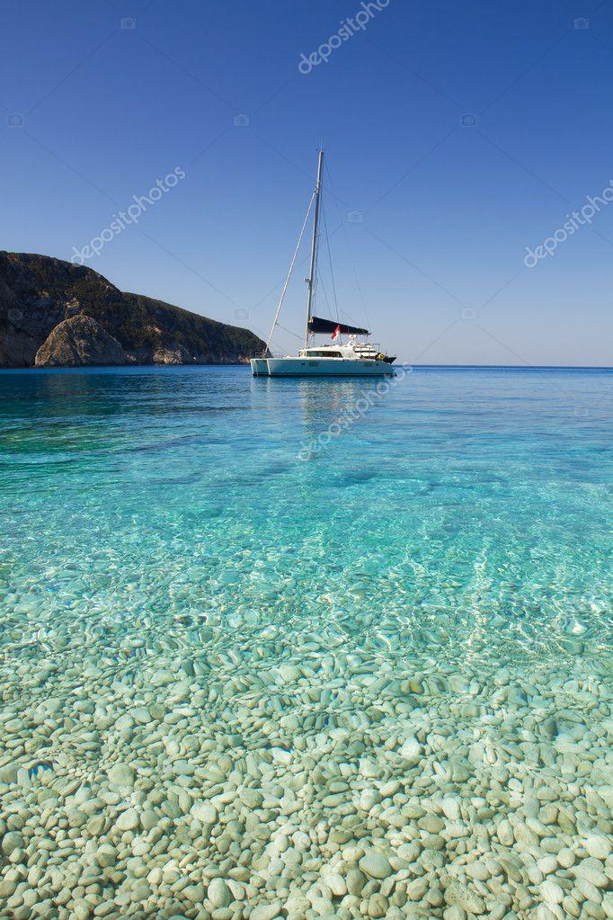 Sailboat on the beautiful Porto Katsiki beach, Greece