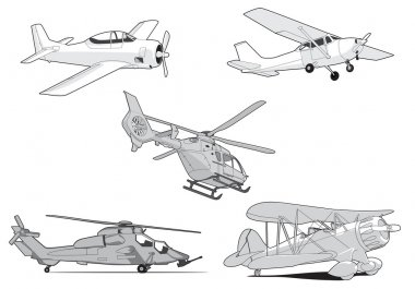 Set of vector air transport on white background stock vector