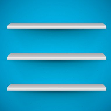 Empty book shelves on blue background