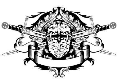 Crossed swords and helmet