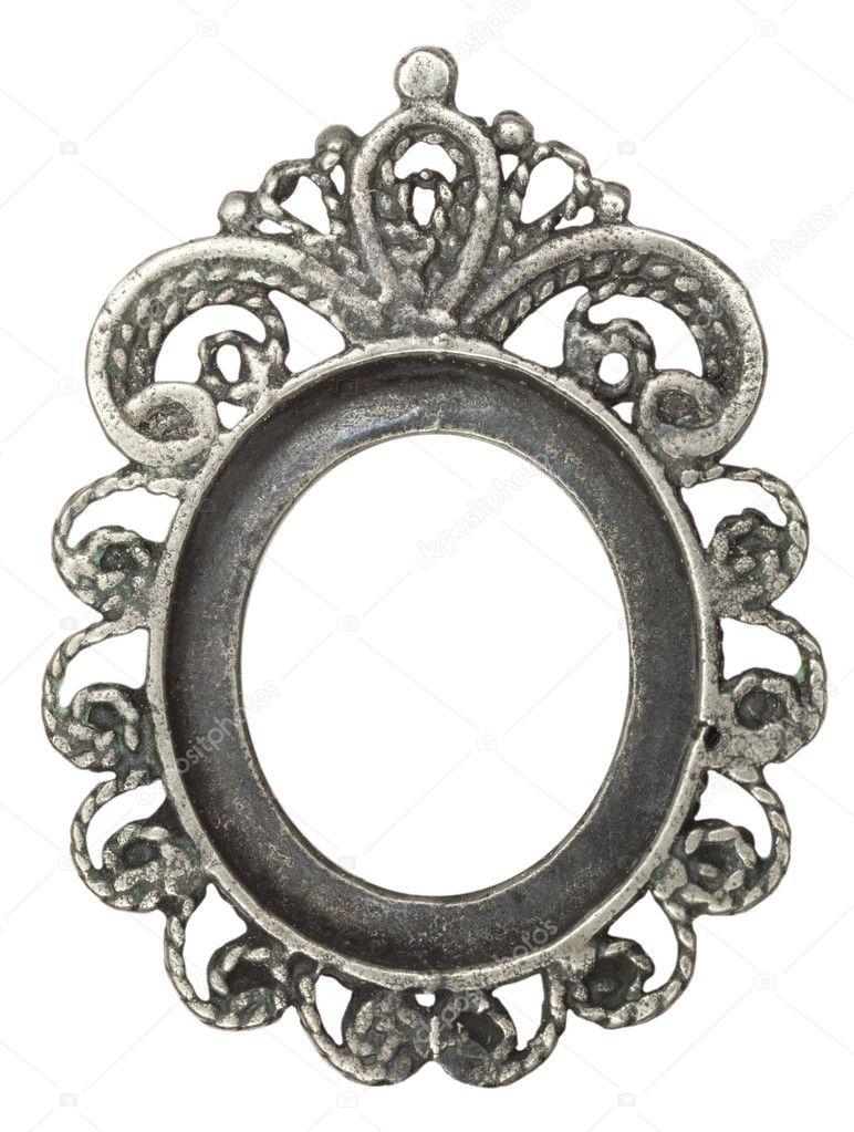 antiguo marco oval con plata hojas — Foto de stock © andreyuu #11806791
