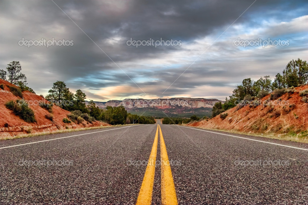 Landscapes with road after sunset