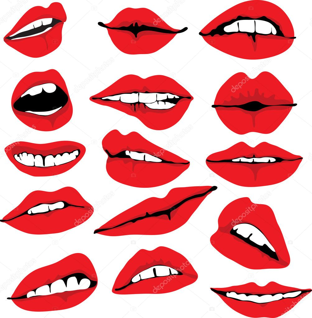 Set of different lips