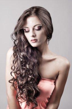 Bright purple eye evening make-up, beautiful woman portrait