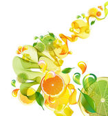 Fotografie Orange und Lime Juice-Splash mit abstrakten Welle