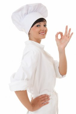 Cook woman making the ok sign