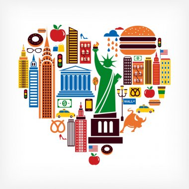 New York love - heart shape with many vector icons
