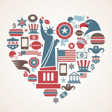 America love - heart shape with many vector icons