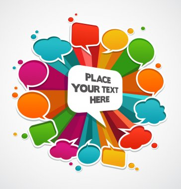 Speech bubbles poster with space for text clip art vector