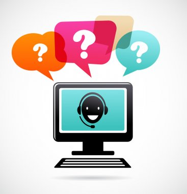 Customer support with headphones, q&a stock vector