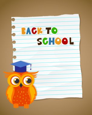 Back to school on wrinkled lined paper and owl. Vector eps 10