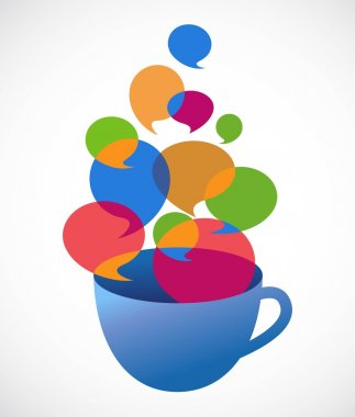 Coffee cup with speech bubbles