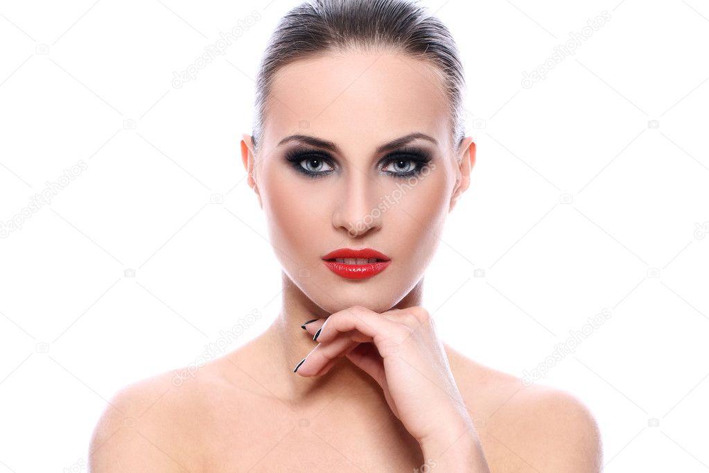 5b33f7a85bf0 krásná žena s večerní make-up — Stock Fotografie © yekophotostudio ...