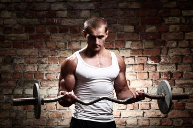 Young muscular guy training biceps with barbell