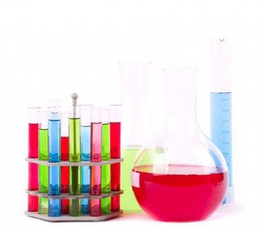 Glass laboratory equipment for science research on white background