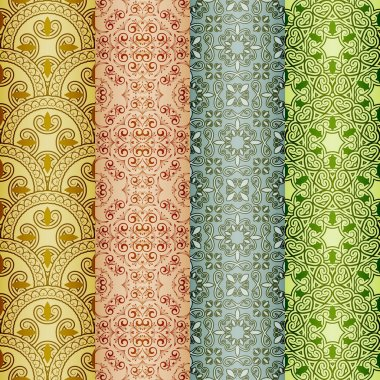 vector seamless patterns, oriental style