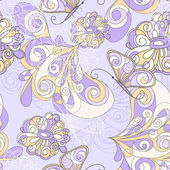 Photo vector seamless pattern with butterflies and flowers