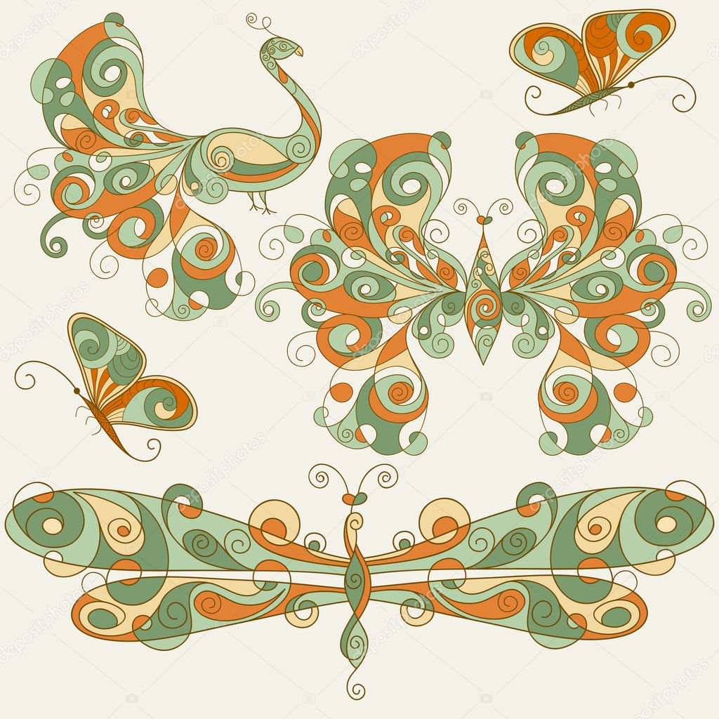 vector stylized dragonfly, butterflies, and peacock