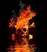 Fotografia teschio in fuoco con riflessione